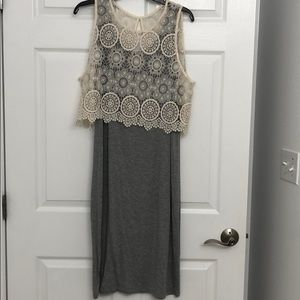 Gray Dress with lace like top